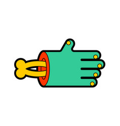 Zombie arm and bone isolated green hand dead vector