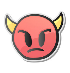 angry face emoticon with horns emoji smiley symbol vector image