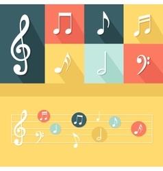 Flat Musical Elements Set vector image