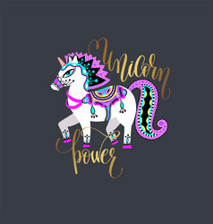 unicorn power - golden hand lettering inscription vector image