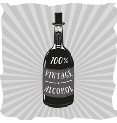 Vintage alcohol bottle looks like an old vector