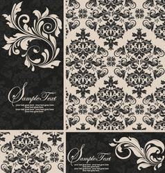 elegant damask invitation card vector image vector image