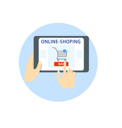 online shopping hands hold a tablet a gadget vector image vector image