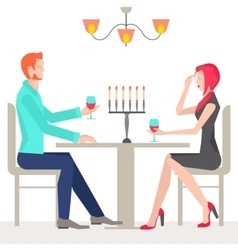 Romantic date couples in love vector image