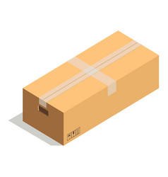 taped cardboard box with handles and precaution vector image vector image
