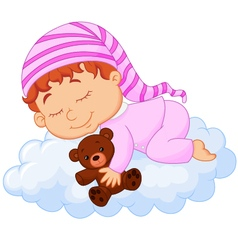 Baby sleeping on the cloud vector image vector image