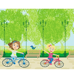 children biking in the park vector image