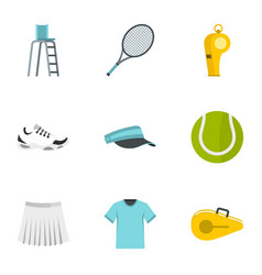 court tennis icons set flat style vector image vector image