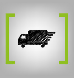 delivery sign black scribble vector image