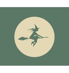 Flying young witch Silhouette on a broomstick vector image