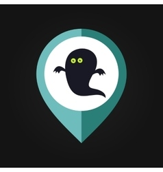 Halloween Ghost mapping pin icon vector image vector image