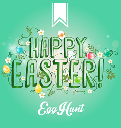 happy easter greeting card with flowers eggs vector image vector image