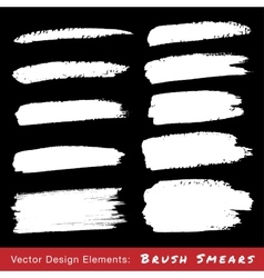 Set of White Hand Drawn Grunge Brush Smears vector image vector image