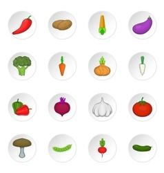 Vegetables studio icons set vector image