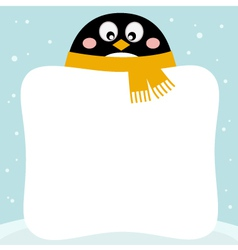 Cute penguin with winter blank banner vector image