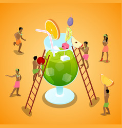 isometric people making summer cocktail vector image vector image