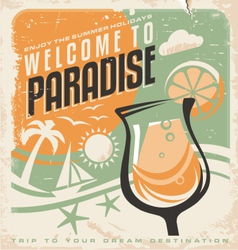 Retro poster template for travel agency vector image