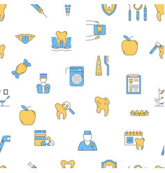 seamless pattern with dental icons set vector image vector image