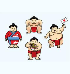 set of cute sumo japan character vector image