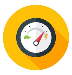 Slow and Fast Speedometer Flat Circle Icon with vector image