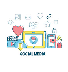 social media connection technology communication vector image