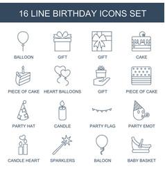 16 birthday icons vector