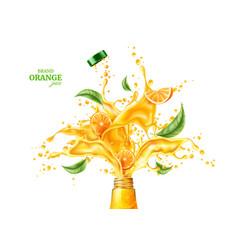 3d orange juice splash flowing liquid vector