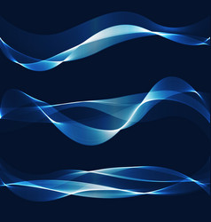 abstract blue smooth wave set curve flow vector image