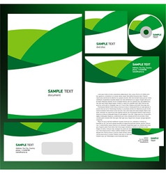 abstract creative corporate identity wave green vector image