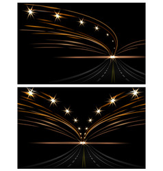 abstract light effects two pictures car lanterns vector image