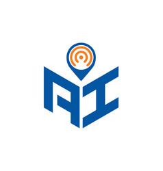 Ai location logo vector