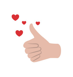 Approved hand with heart isolated icon vector