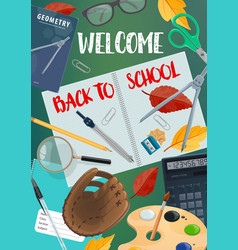 back to school lettering with student items frame vector image