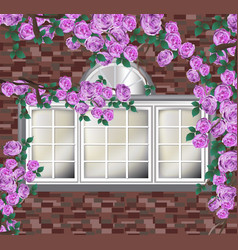 beautiful peonies on brick wall provence style vector image