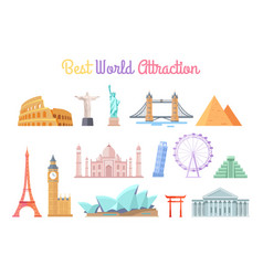 best world attractions set vector image