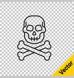 black line skull on crossbones icon isolated on vector image