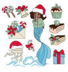 black mermaid new year set vector image