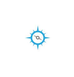 blue compass with indicators for logo design vector image