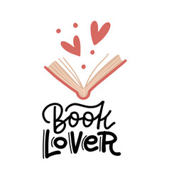 book lover - hand drawn lettering heart signs and vector image