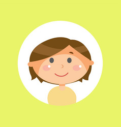 boy with long brown hair child or kid avatar vector image