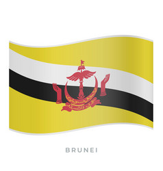 Brunei waving flag icon vector