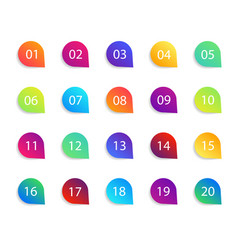 Bullet point icons with numbers color circles vector