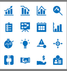 Business icons with solid blue style vector