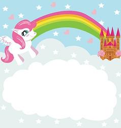 Card with a cute unicorn rainbow and fairy-tale vector image