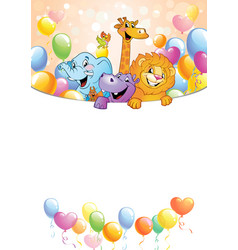 cartoon cheerful animals holiday background vector image
