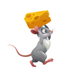 cartoon grey mouse with cheese funny rat animal vector image