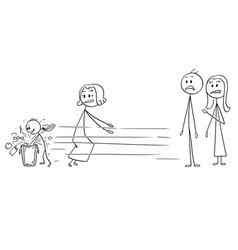 Cartoon of ill-mannered child looking for gift vector