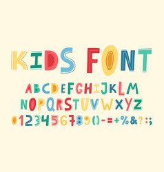childish cute alphabet hand drawn baby funky abc vector image