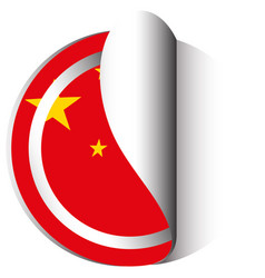 China flag in sticker design vector
