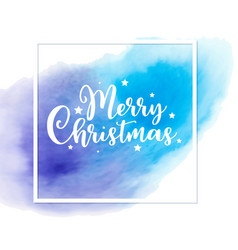 Christmas card with blue watercolor texture vector